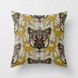 native mountain lion gold Throw Pillow