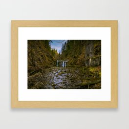 Fall in the woods Framed Art Print