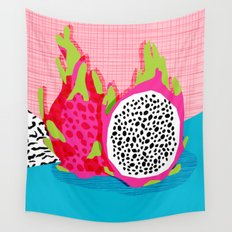 Hard Core - memphis throwback retro neon tropical fruit dragonfruit exotic 1980s 80s style pop art Wall Tapestry