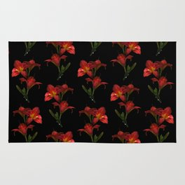 Red Lily Flowers Rug