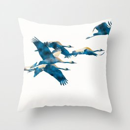 Beautiful Cranes in white background Throw Pillow