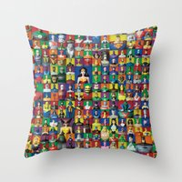 justice league Throw Pillows featuring Action Figure Grid: Justice League Unlimited by CantinaDanny