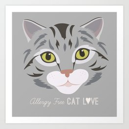 Allergy Free Cat Love: Silver Tabby Art Print