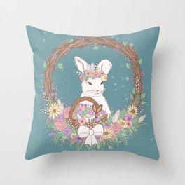 Watercolor Easter Bunny Wreath Art Throw Pillow