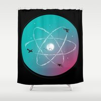 aviation Shower Curtains featuring Atomic Formation by nicebleed
