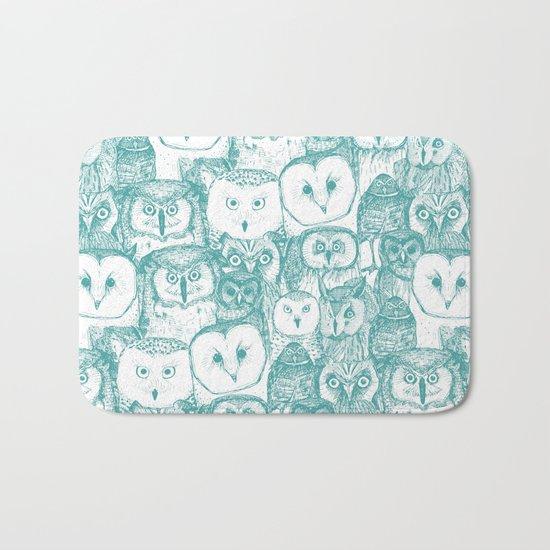 just owls teal blue Bath Mat