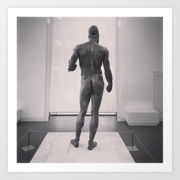 Greek statue, black & white fine art, Riace Warriors, greek art, Calabria, southern Italy Art Print