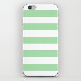 Celadon - solid color - white stripes pattern iPhone Skin