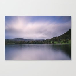Clouds sweeping over Rydal Water at dusk. Lake District, UK Canvas Print