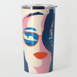 Blue Retro Summer Girl Travel Mug