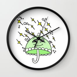 Drawn by hand a smiling umbrella Wall Clock