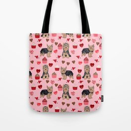 Yorkie valentines day yorkshire terrier hearts cupcakes dog breeds dog gifts pet portraits Tote Bag