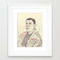 finn Framed Art Prints featuring Finn by withapencilinhand