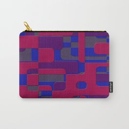 offset puzzle rounded graphic squares in a red and blue colour set Carry-All Pouch