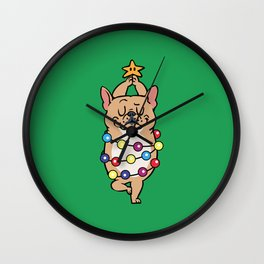 French Bulldog Merry Christmas Wall Clock