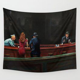 Nighthawks (oil on canvas) Wall Tapestry