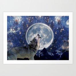 A One Wolf Moon Art Print