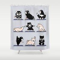 shiba Shower Curtains featuring Shiba Yoga by Huebucket