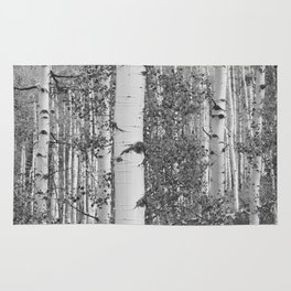 Black and White Birch Trees Rug