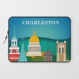 Charleston, West Virginia - Skyline Illustration by Loose Petals Laptop Sleeve