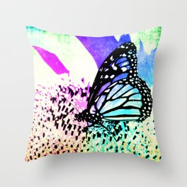Beautiful Butterfly Sitting on a Flower with Colorful Background Throw Pillow