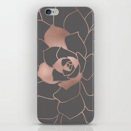 Rosegold  blossom on grey - Pink metal - effect flower iPhone Skin