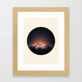 Glowing Star Sky Behind Snow Mountain Round Photo Vintage Framed Art Print