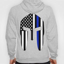 Spartan Helmet USA Flag Thin Blue Line Hoody