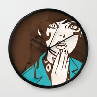 60s Wall Clocks featuring 60s Girl by Ed Pires