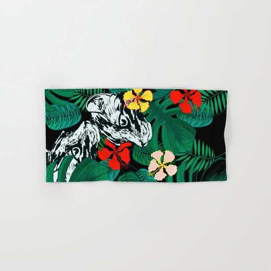 Tropical floral jungle. Exotic forest. Leopard with flowers. Hand & Bath Towel