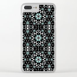 Black, blue, ornament Clear iPhone Case
