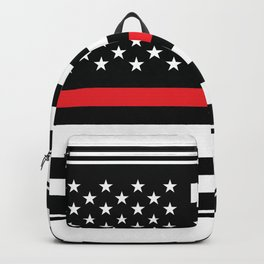 Red Thin Flag Firefighter Backpack