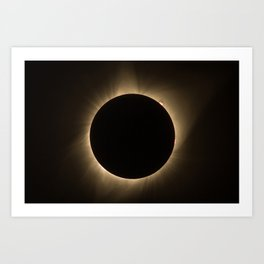 Flares - Total Solar Eclipse with Subdued Corona and Sun Bursts Art Print