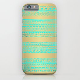 Aqua Blue Green Tribal Pattern on Gold Background iPhone Case