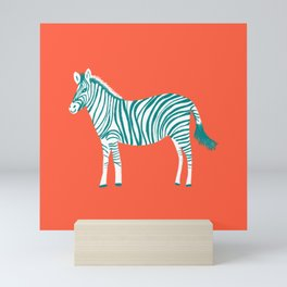 Zebra Parade Pattern Flame Teal Mini Art Print