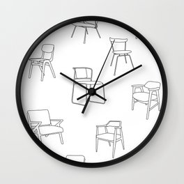 Mid Century Chairs Print Black and white Wall Clock
