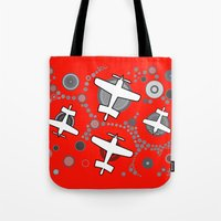 airplanes Tote Bags featuring airplanes in red by Isabella Asratyan