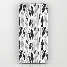 raphic pattern feathers on a white background iPhone Skin