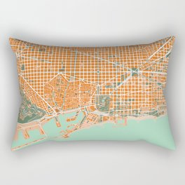 Barcelona city map orange Rectangular Pillow