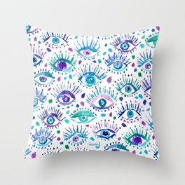 BRIGHT EYES Watercolor All-Seeing Eye Print Throw Pillow