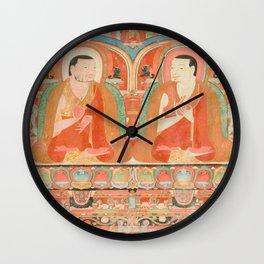 Portrait of Two Lamas, 13th Century Tibetan Art Wall Clock