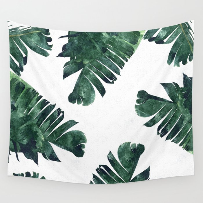 Banana Leaf Watercolor Painting, Tropical Nature Botanical Palm Illustration Bohemian Minimal Luxe Wall Tapestry