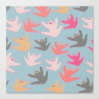 sloths Canvas Prints featuring Cute sloths pattern by Darish