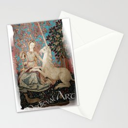 Medieval Art - Lady and the Unicorn in Turquoise Stationery Cards