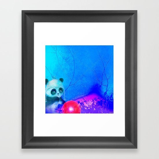 Baby panda plays with its balloon Framed Art Print