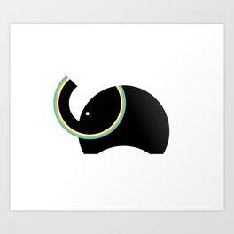 Retro Elephant Art Print