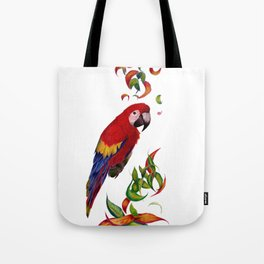 red parrot with rainbow leaves Tote Bag