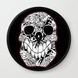 Dragon Skull on Red Wall Clock