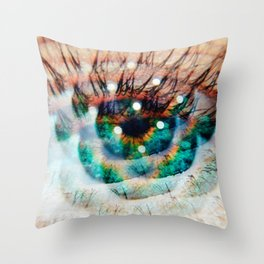 Green Eyes Hypnotize Throw Pillow