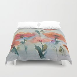 Flowers in watercolor Duvet Cover